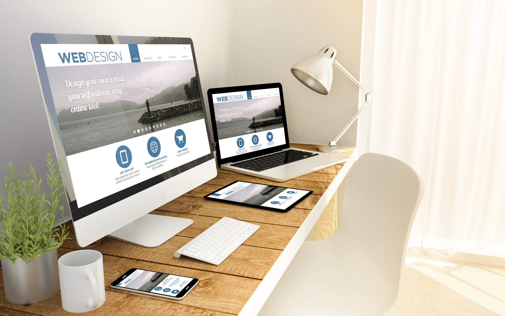 Digital generated devices over a wooden table with responsive design website. All screen graphics are made up.