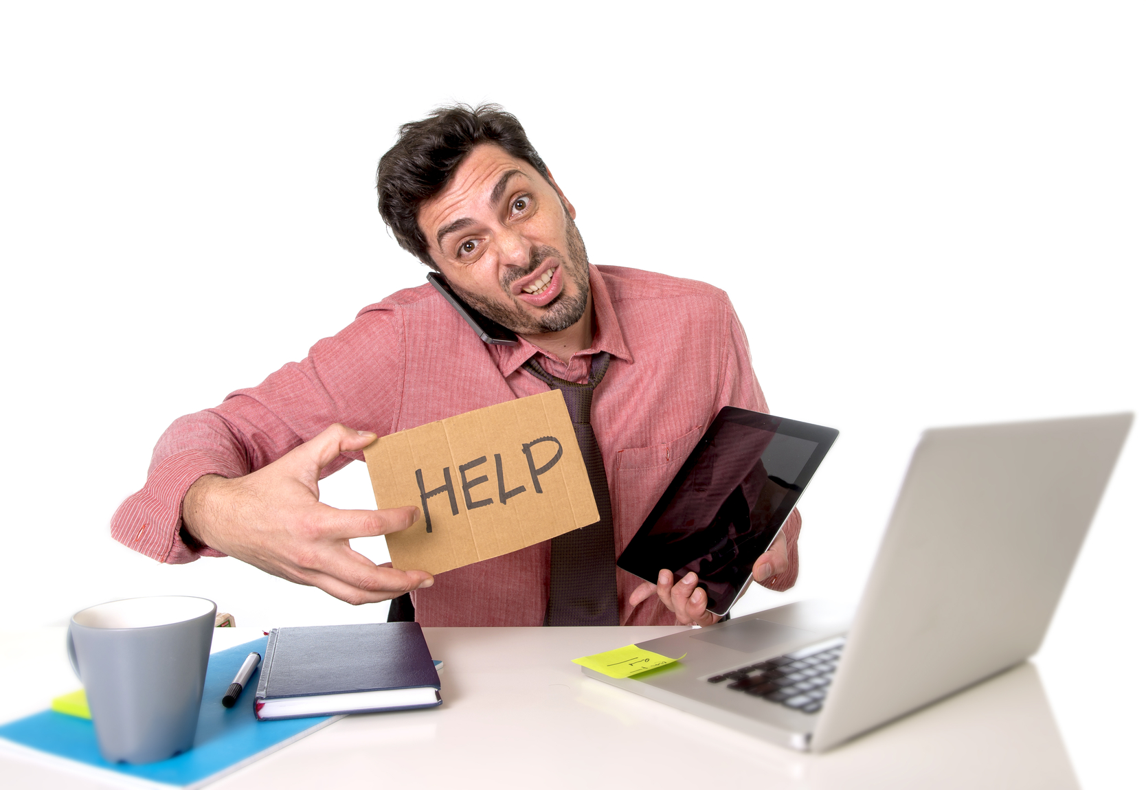 overworked businessman busy working in stress asking for help