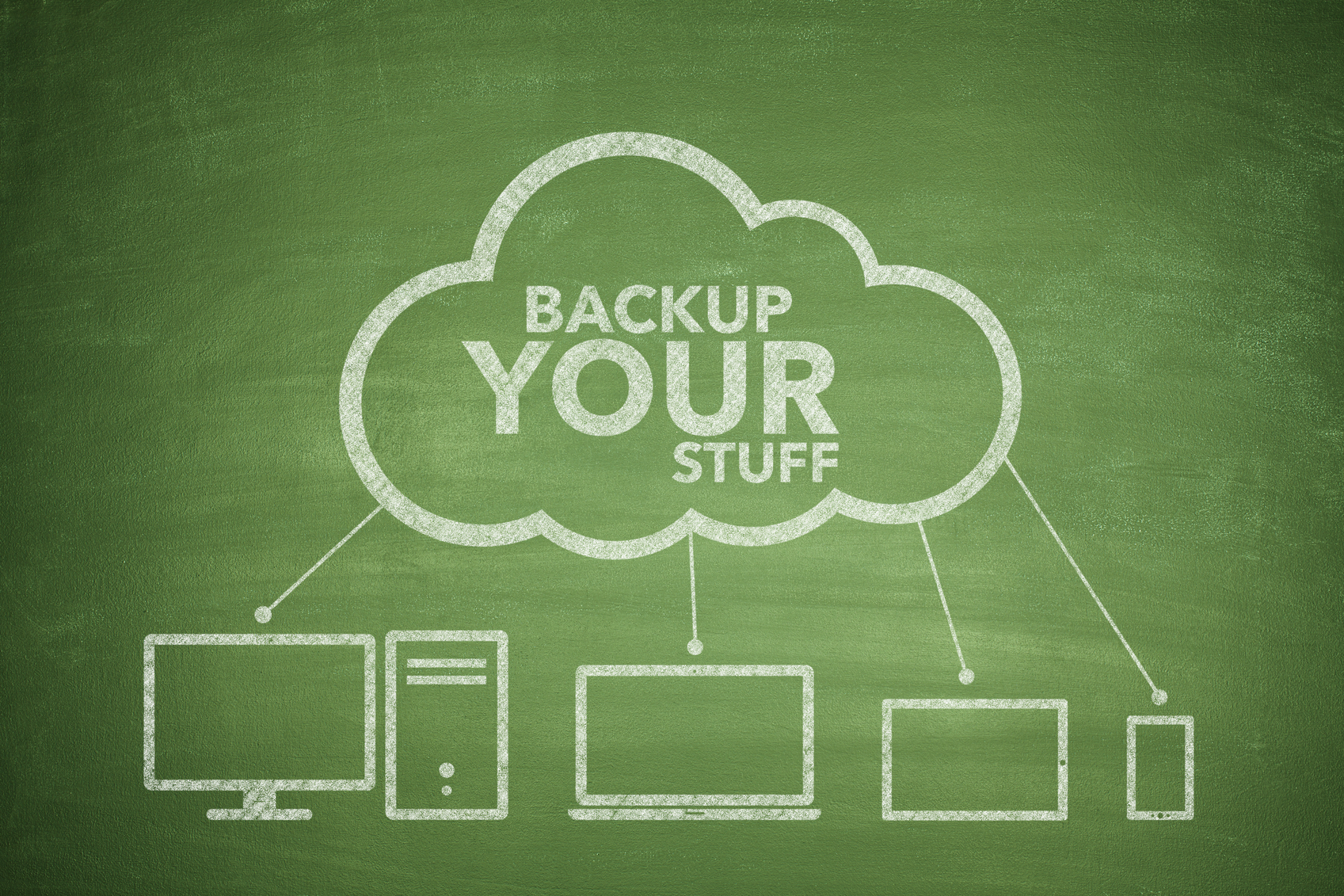 Backup your stuff concept on green background