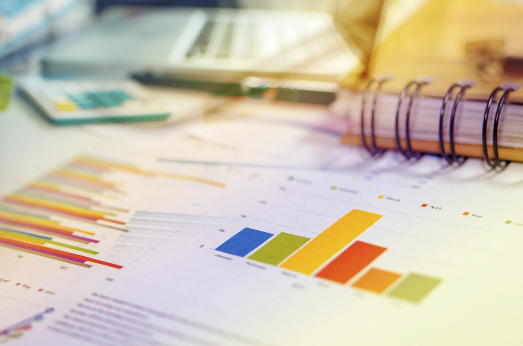 Graphs and charts, business table. The workplace of business people.