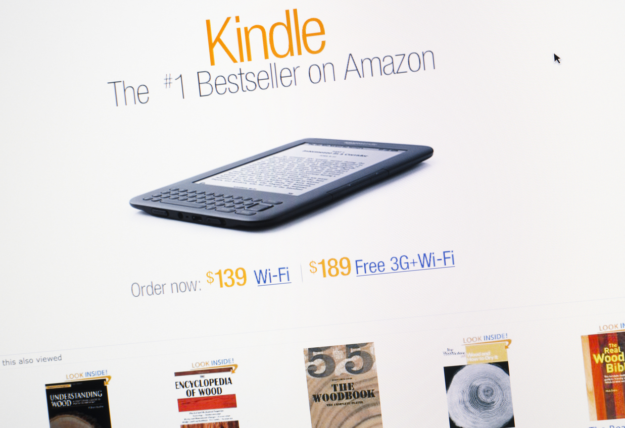 Kindle on Amazon.com hompage retail store