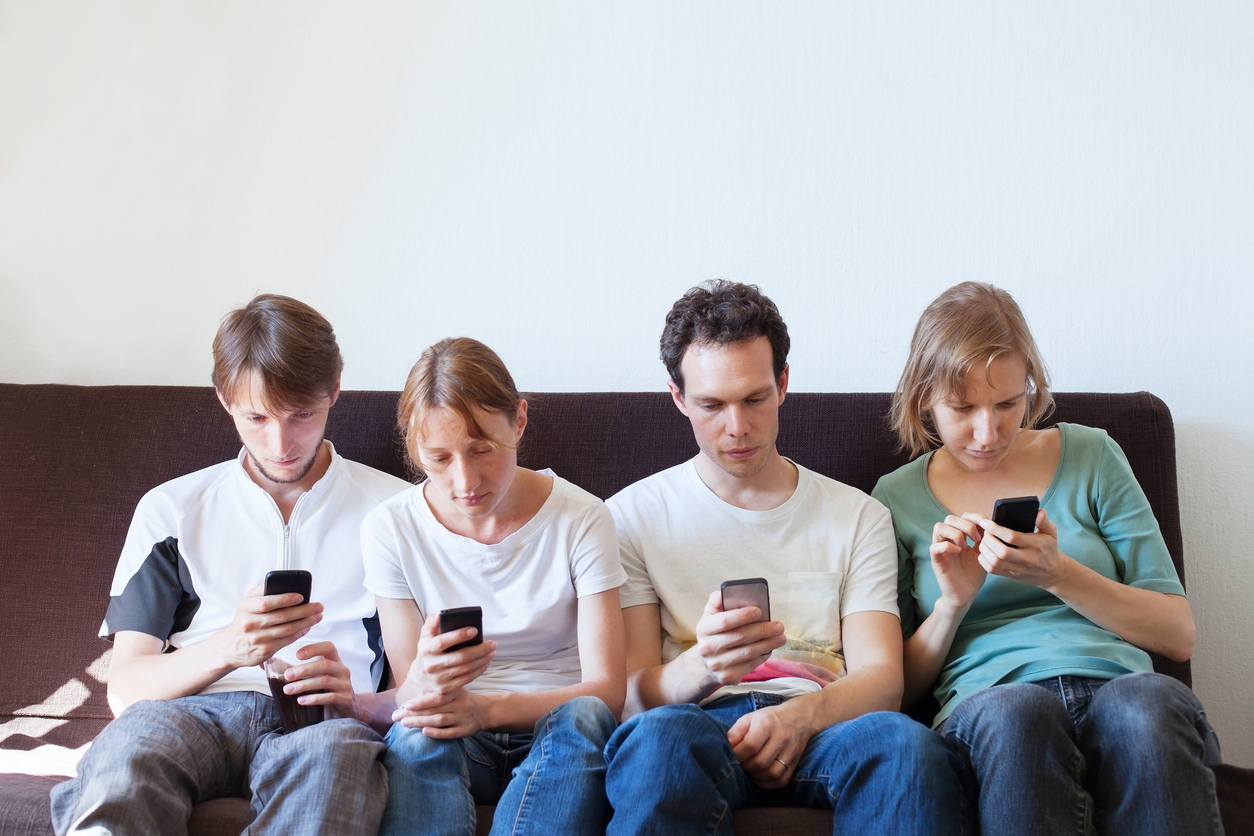 internet addiction concept, group of people with their smartphones