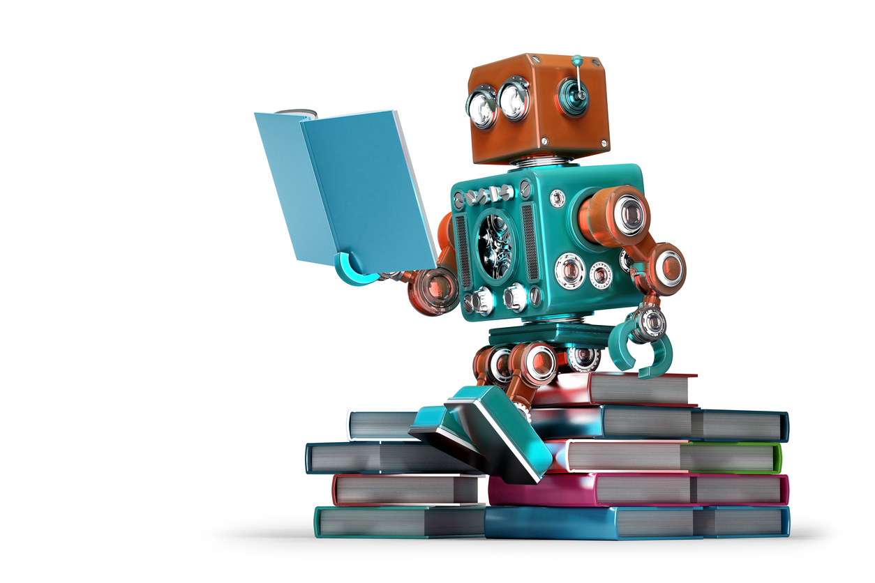 Retro-robot-reading-a-book