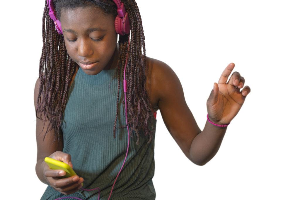 Teenage listening music