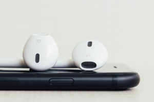 Close-up earpods stack on new iphone