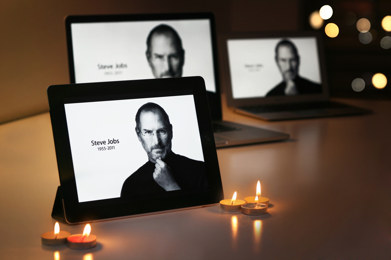 STEVE JOBS displays on Apple products