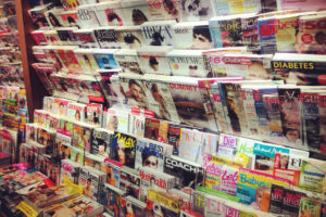 Newsstand with German Magazines