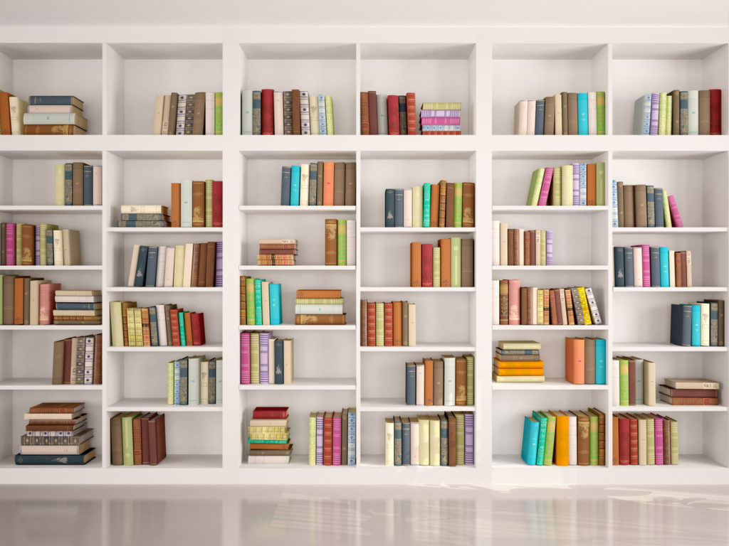illustration of White bookshelves