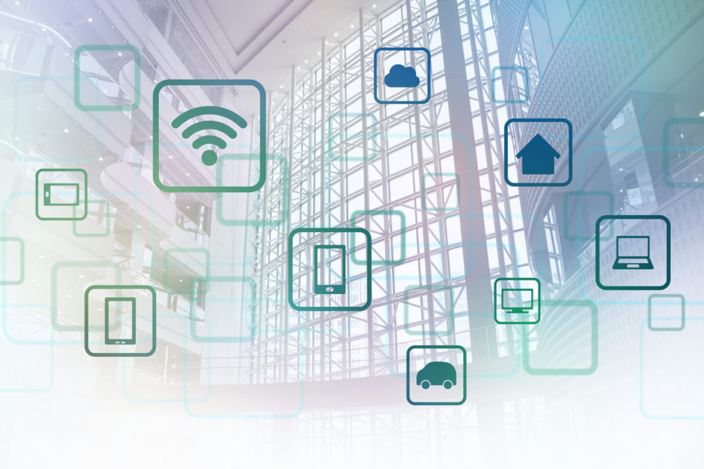 smart building and wireless communication network, abstract image visual, internet of things