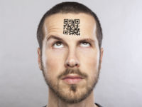 young man with a qr code on his forehead