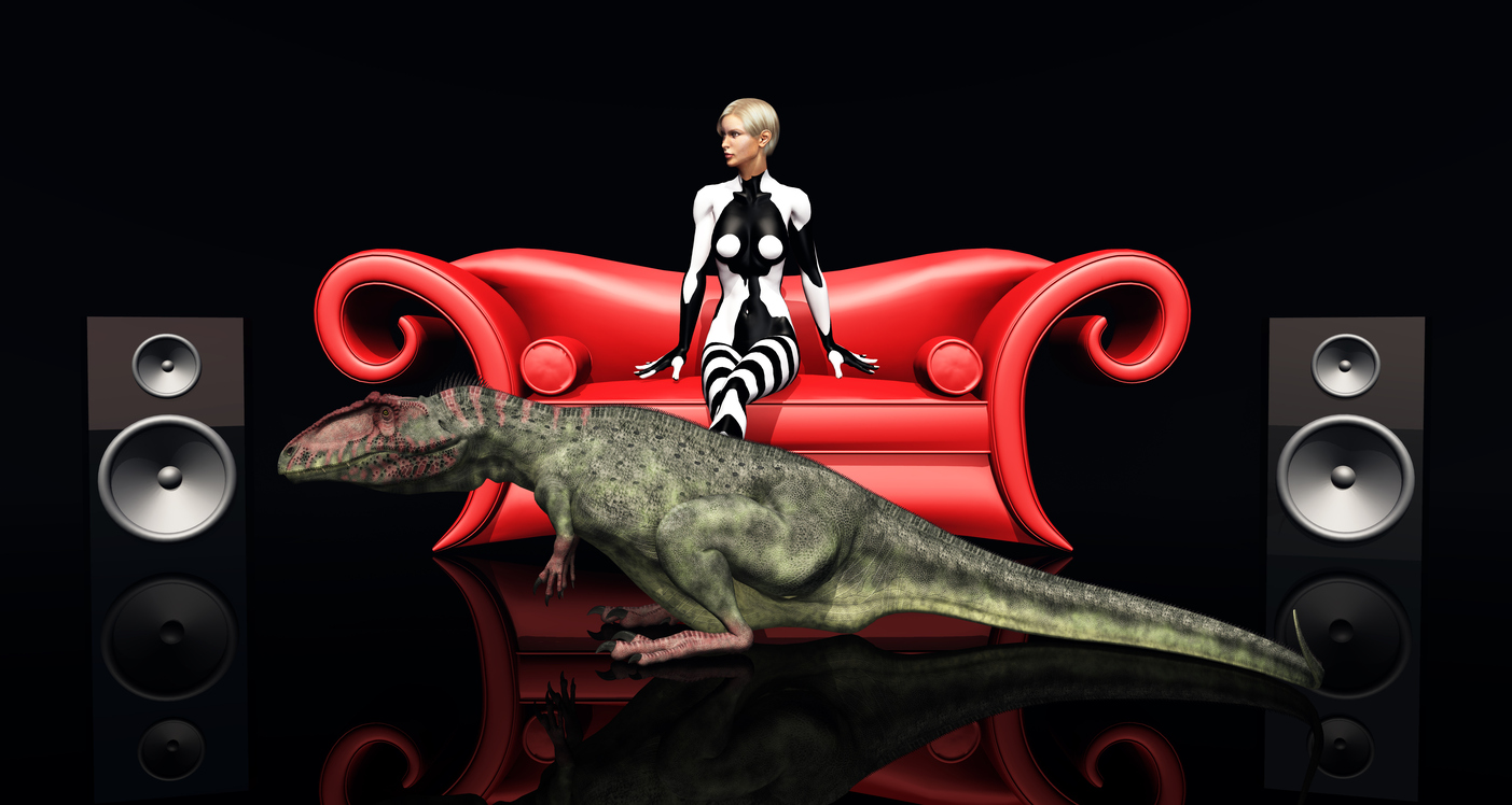 Attractive woman on a red couch, loudspeaker boxes and the dinosaur Giganotosaurus
