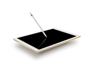 Mockup gold tablet realistic style with stylus. Isolated on whit
