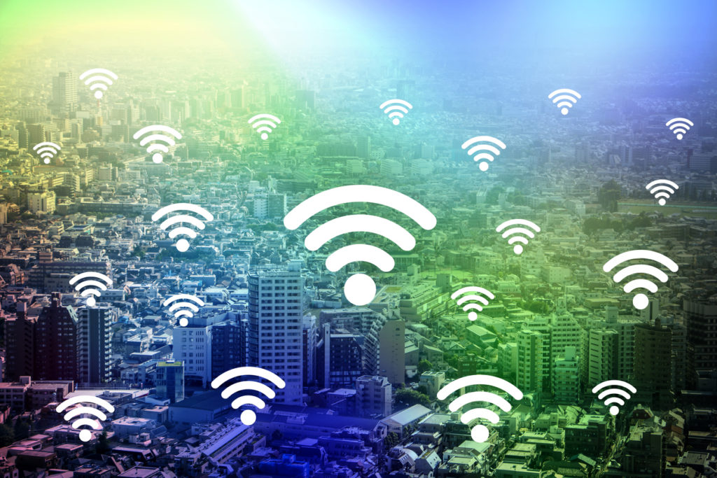 modern cityscape and wireless communication, internet of things, abstract image visual