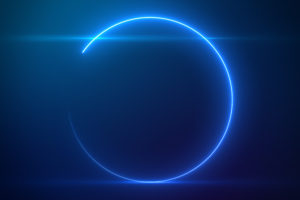 Beautiful Blue Circle Light with Lens Flare on Particles Background