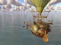 Fantasy hot air balloon over the sea