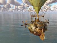 Fantasy hot air balloon over the sea