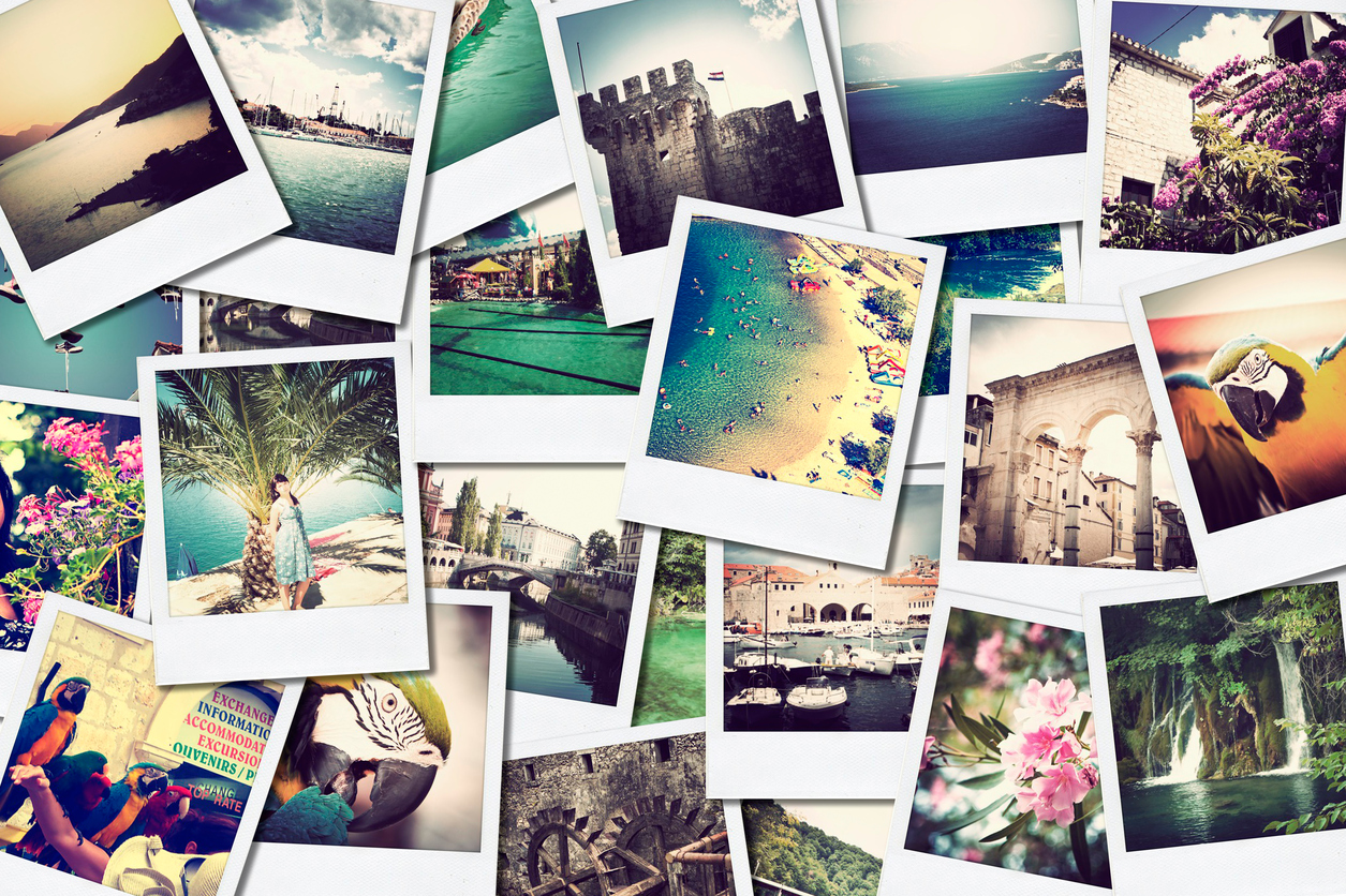 Multiple photographs of vacation scenes