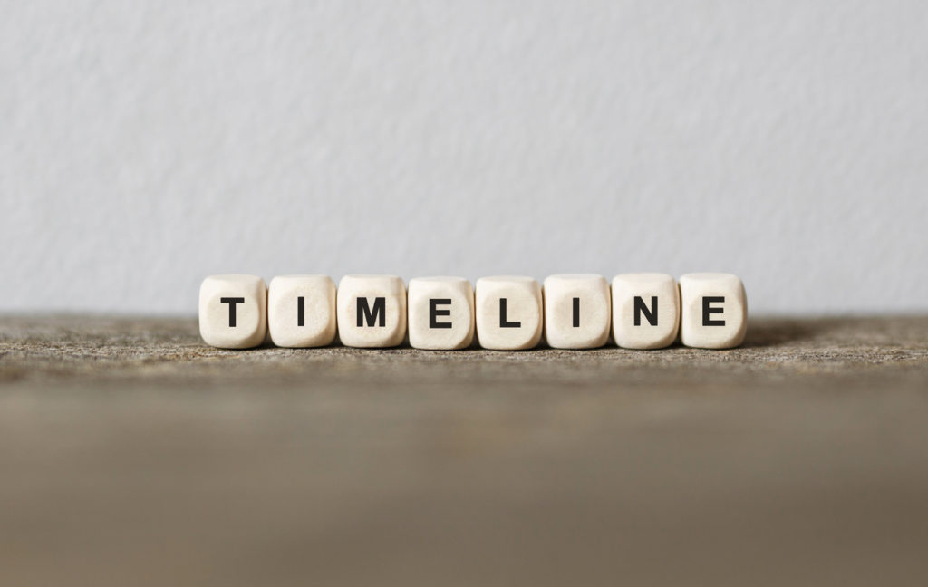 Word TIMELINE made with wood building blocks