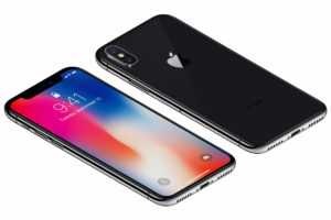 Isometric Space Gray Apple iPhone X front side with iOS 11 lockscreen and back side isolated on white background