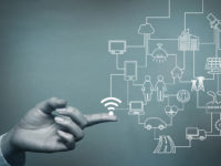 human hand and connected icons of IoT, abstract concept visual