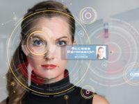 Biometrics concept. Facial Recognition System. Iris recognition.