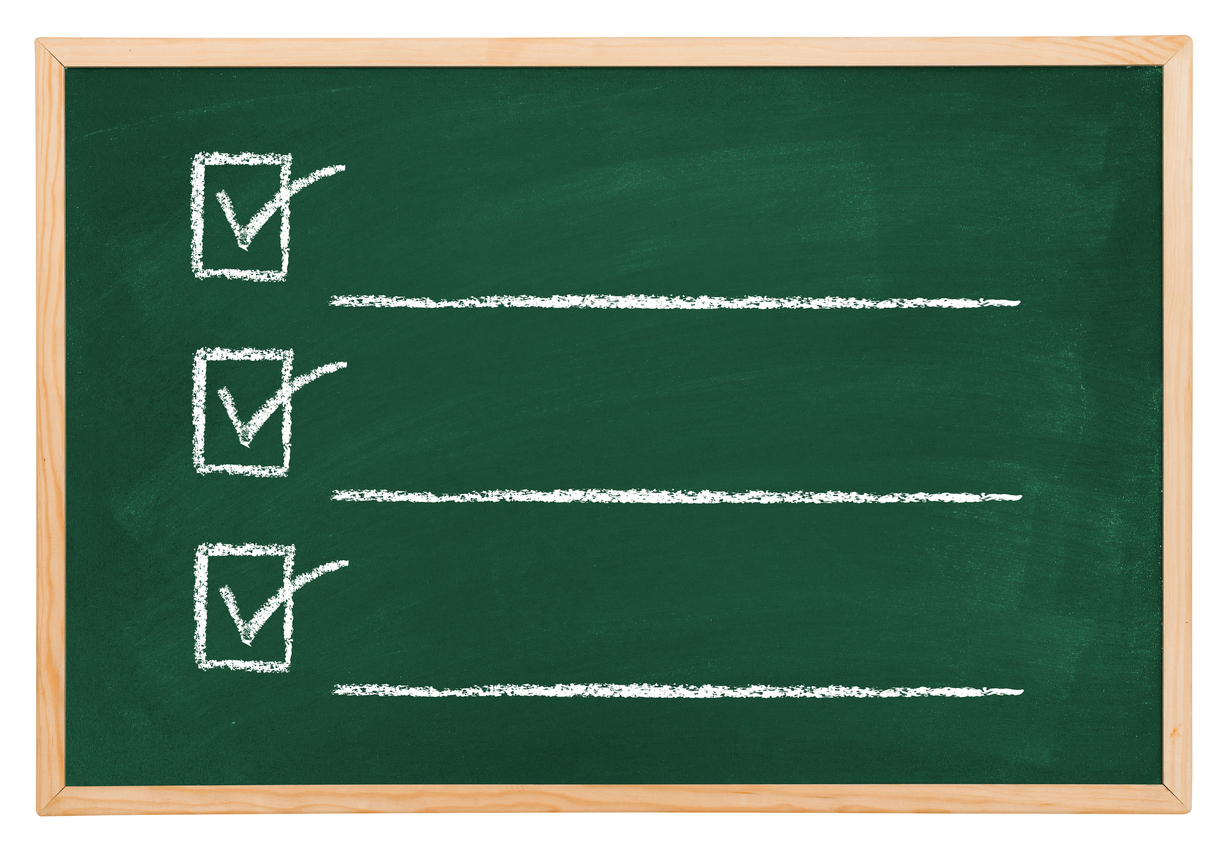 Checklist on blackboard