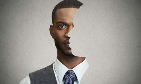 surrealistic portrait front with cut out profile of a man