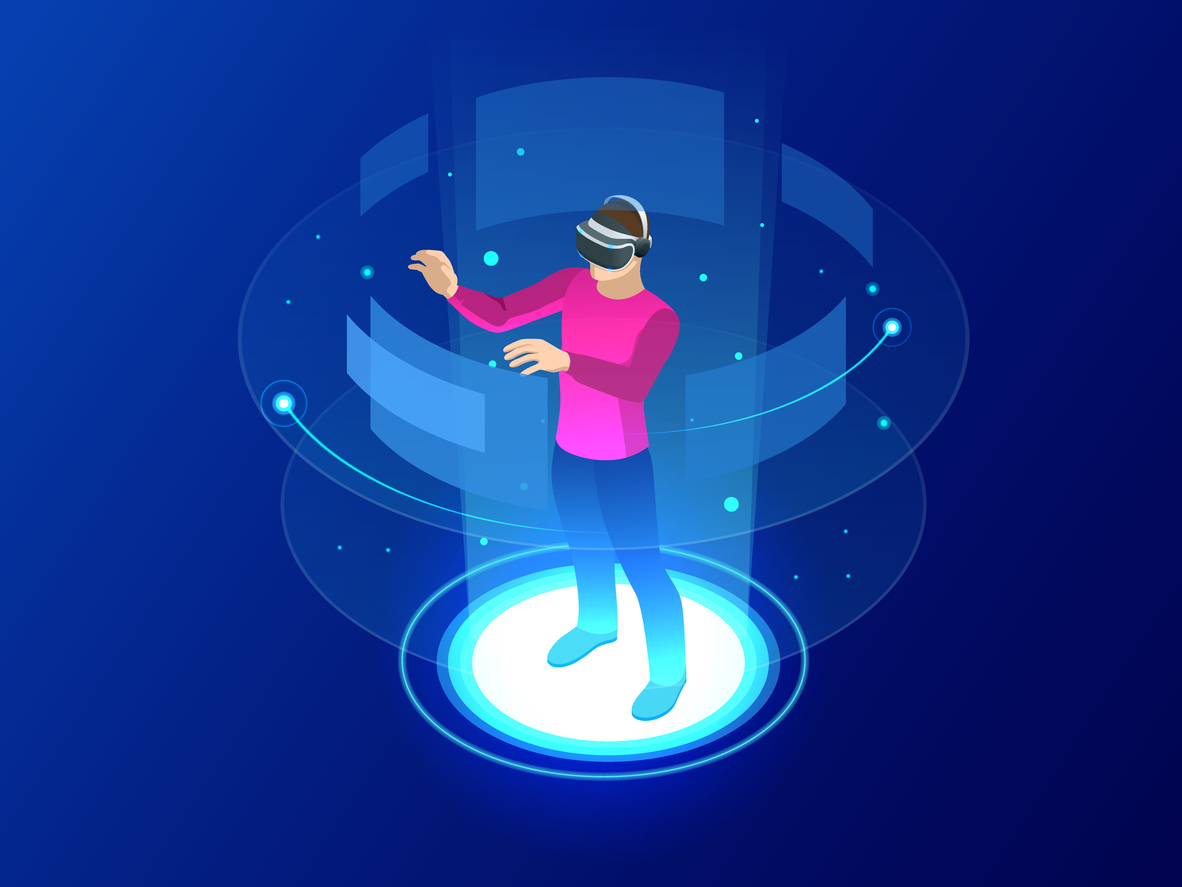Isometric Man wearing goggle headset with touching vr interface. Into virtual reality world. Future technology
