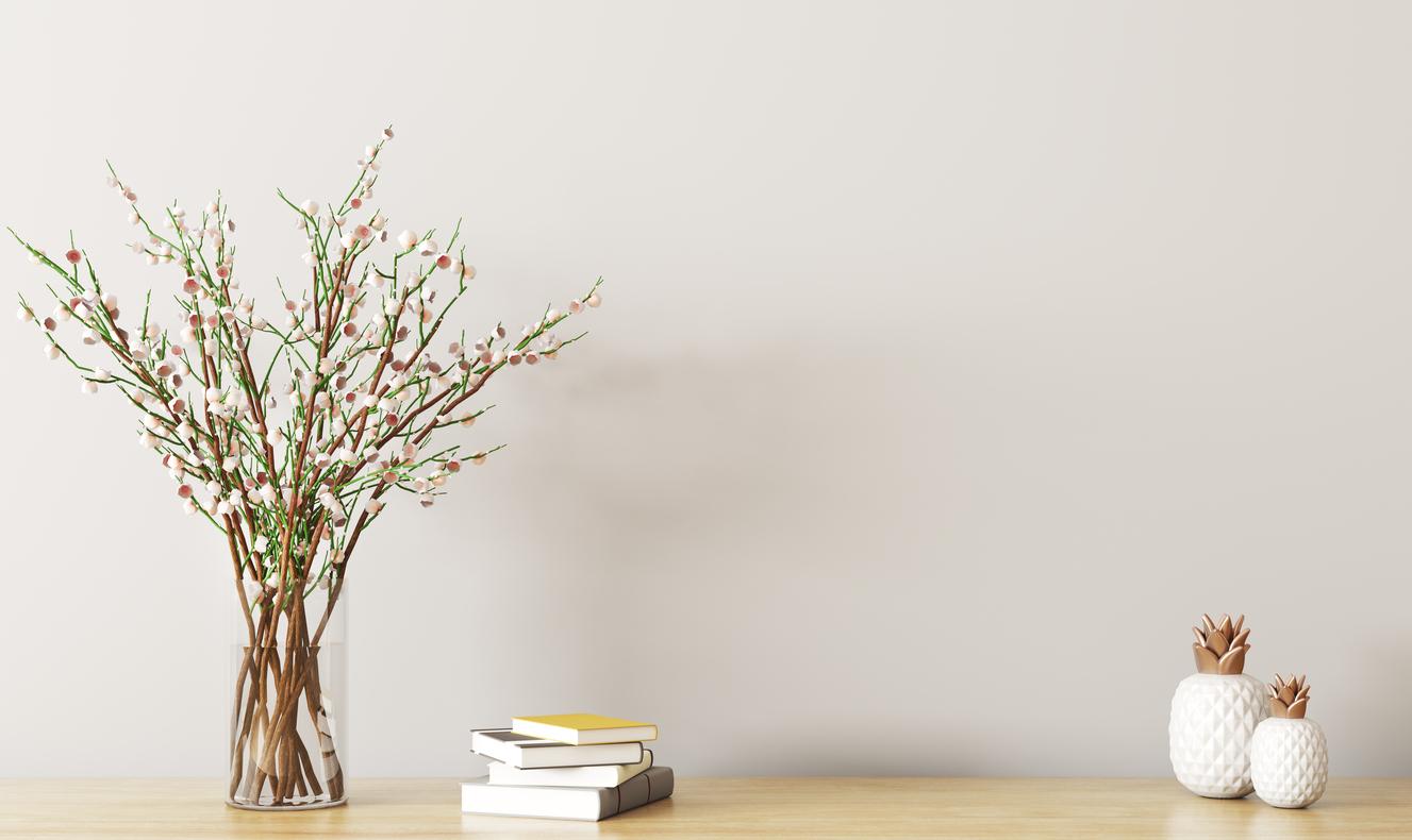Shelf with flower branch 3d rendering