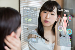 Smart mirror concept. Various information displayed on mirror screen.