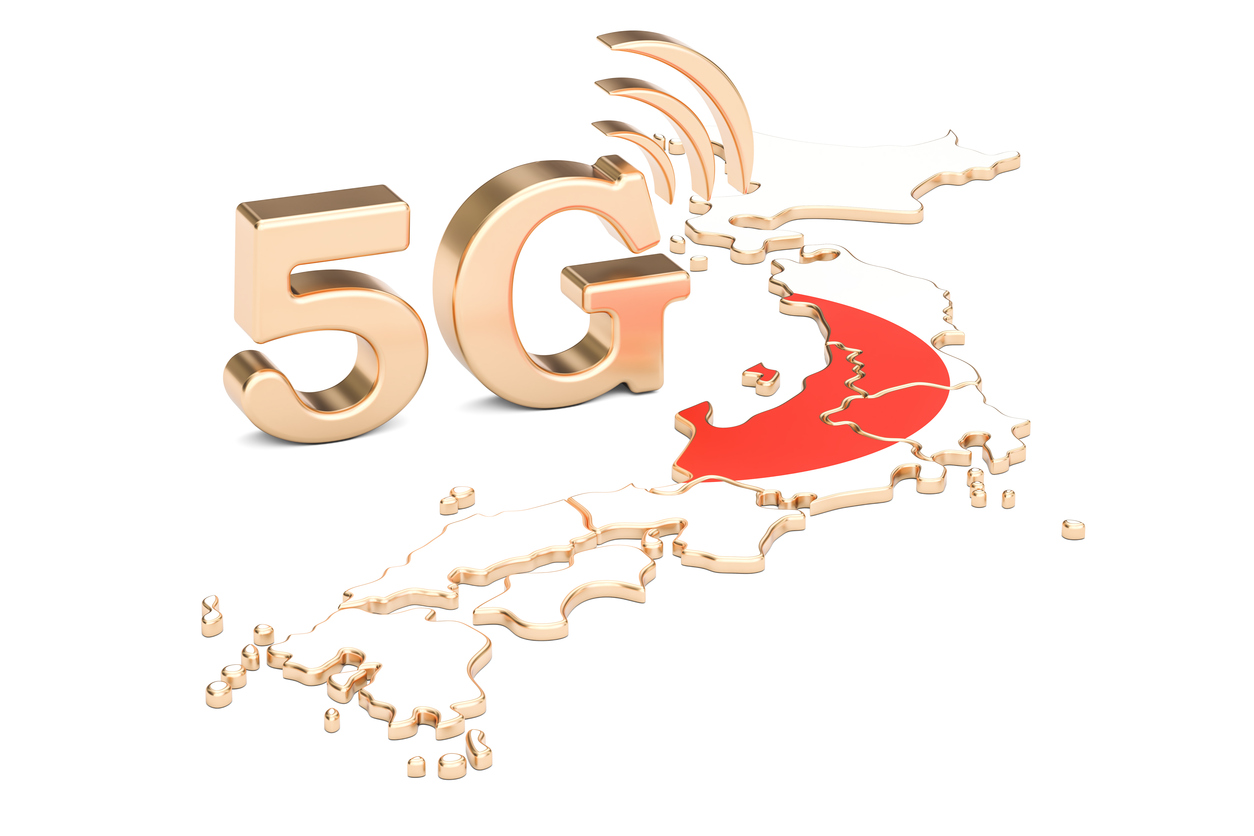 5G in Japan concept, 3D rendering isolated on white background