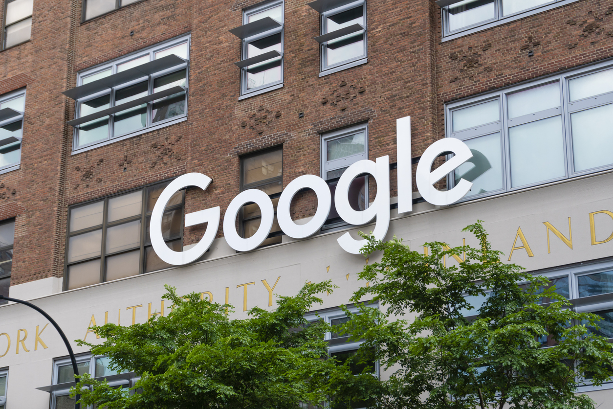 Google sign outside the Google office in New York City