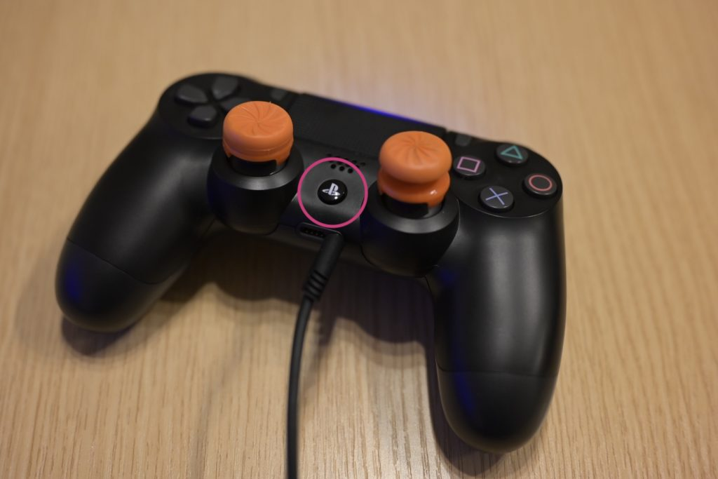PS4コントローラーの「PSボタン」を長押し.