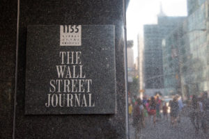 The Wall Street Journal sign in its building