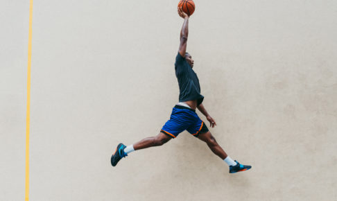 Basketball player training on a court in New york city