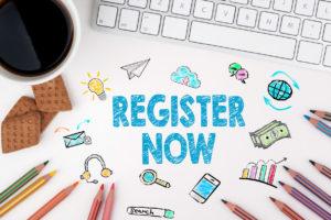 Register Now, Business concept. White office desk