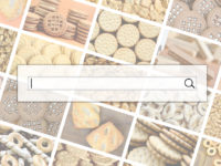 Visualization of the search bar on the background of a collage of many pictures with various sweets close-up. A set of images with varieties of biscuits, bagels and candies