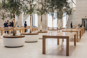Interior of The Apple Store on Regent Street, London, that recently had a refurbishment.
