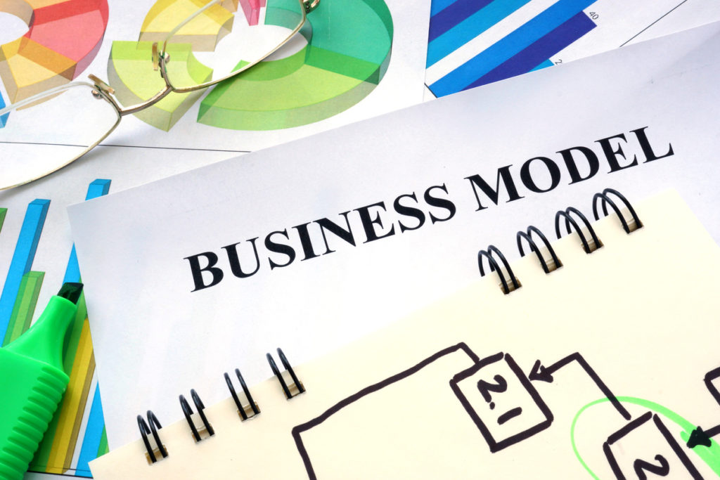 Business model written in a notebook. Business concept.