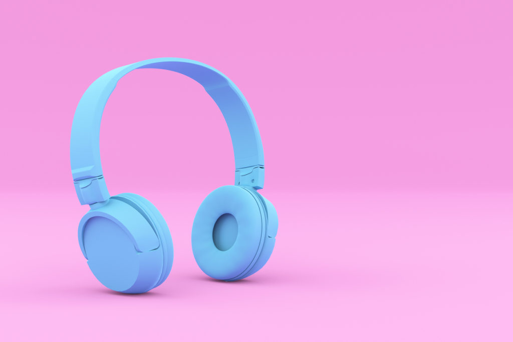Modern Painted Blue Headphones on Pink Background. Creative Design in Minimal Style. Trendy duotone effect. 3D render Illustration.