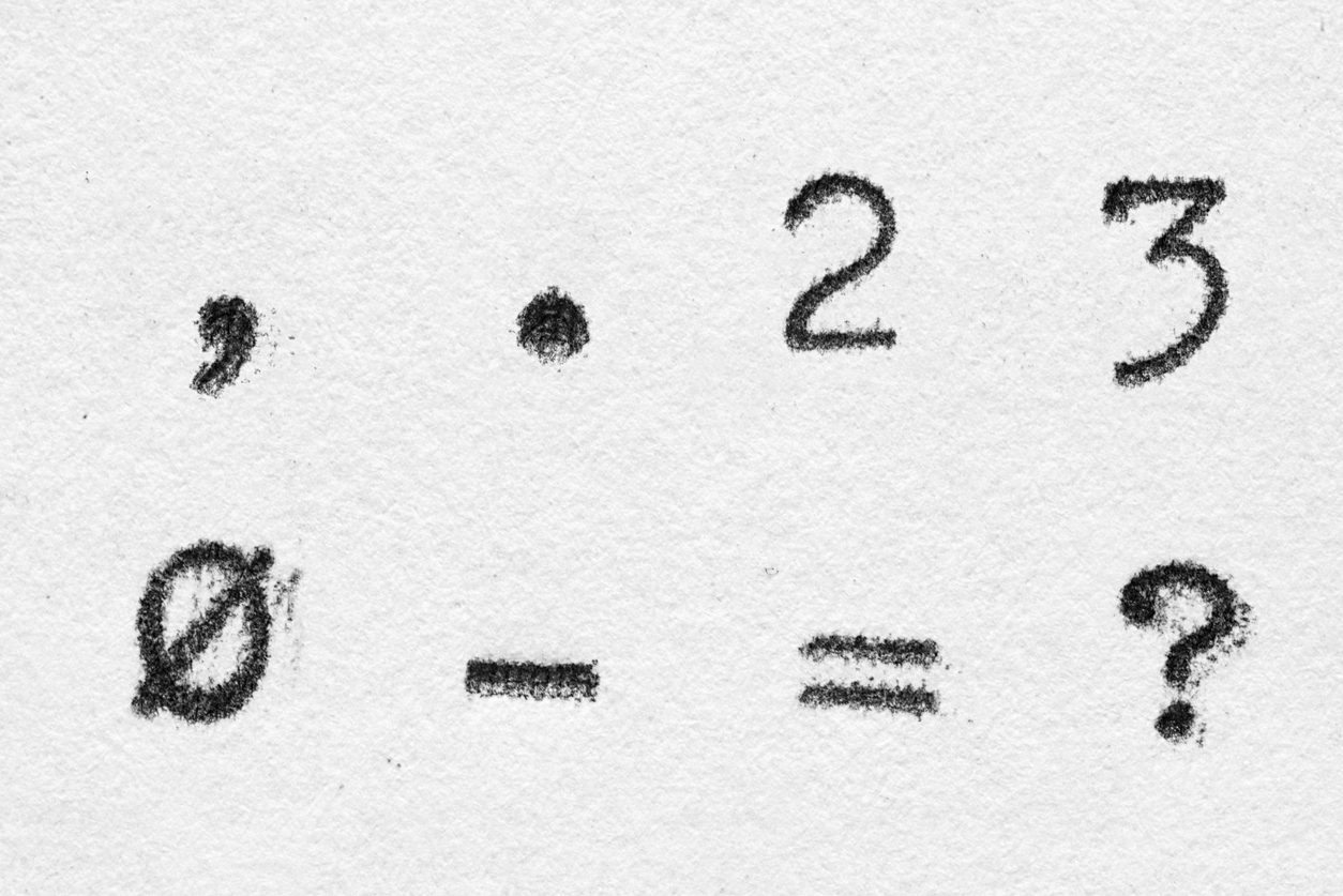Real typewriter font alphabet with digits 2, 3, 0 and symbols
