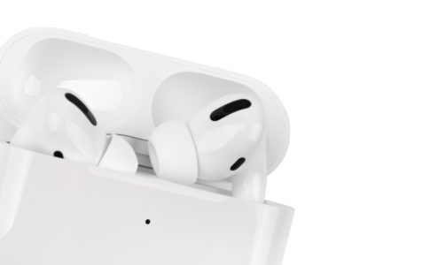 Apple AirPods Pro on a white background.