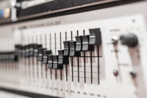 Levels on professional electronic equalizer audio equipment
