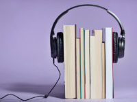 Audio books concept with books and headphones