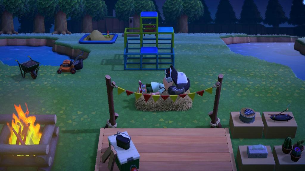 Photo : どうぶつの森のスクリーンショット ベッド,ハンモックなどには,寝っ転がることができます.