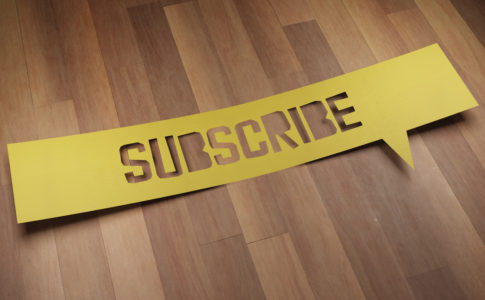 "Banner with the word ""SUBSCRIBE"" in speech bubble. 3D Render"