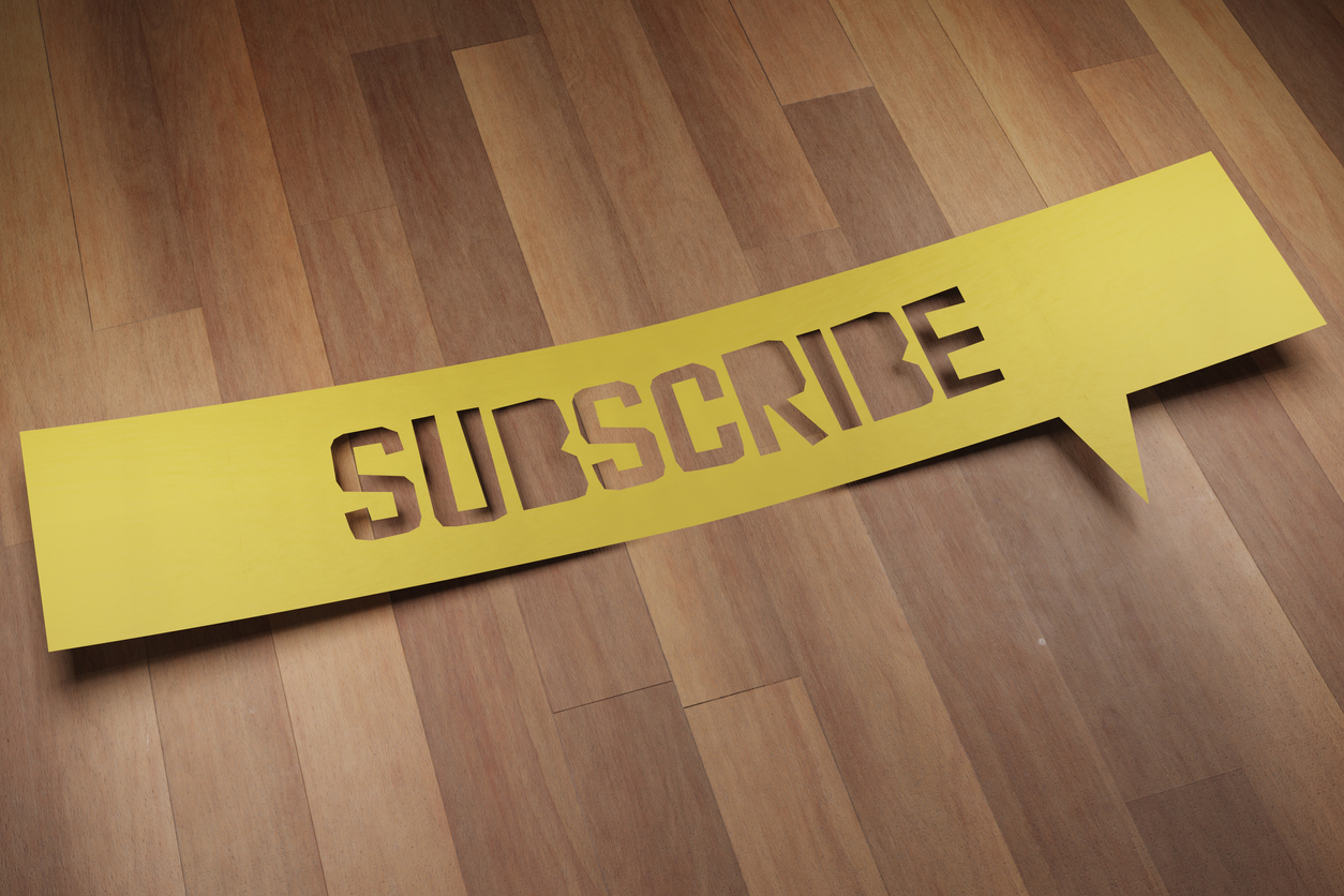"""Banner with the word """"SUBSCRIBE"""" in speech bubble. 3D Render"""