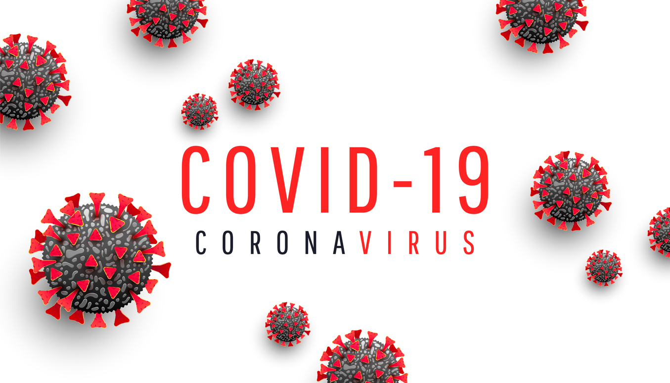 Coronavirus disease COVID-19 medical web banner with SARS-CoV-2 virus molecule and text on a white background. World pandemic 2020. Horizontal vector illustration