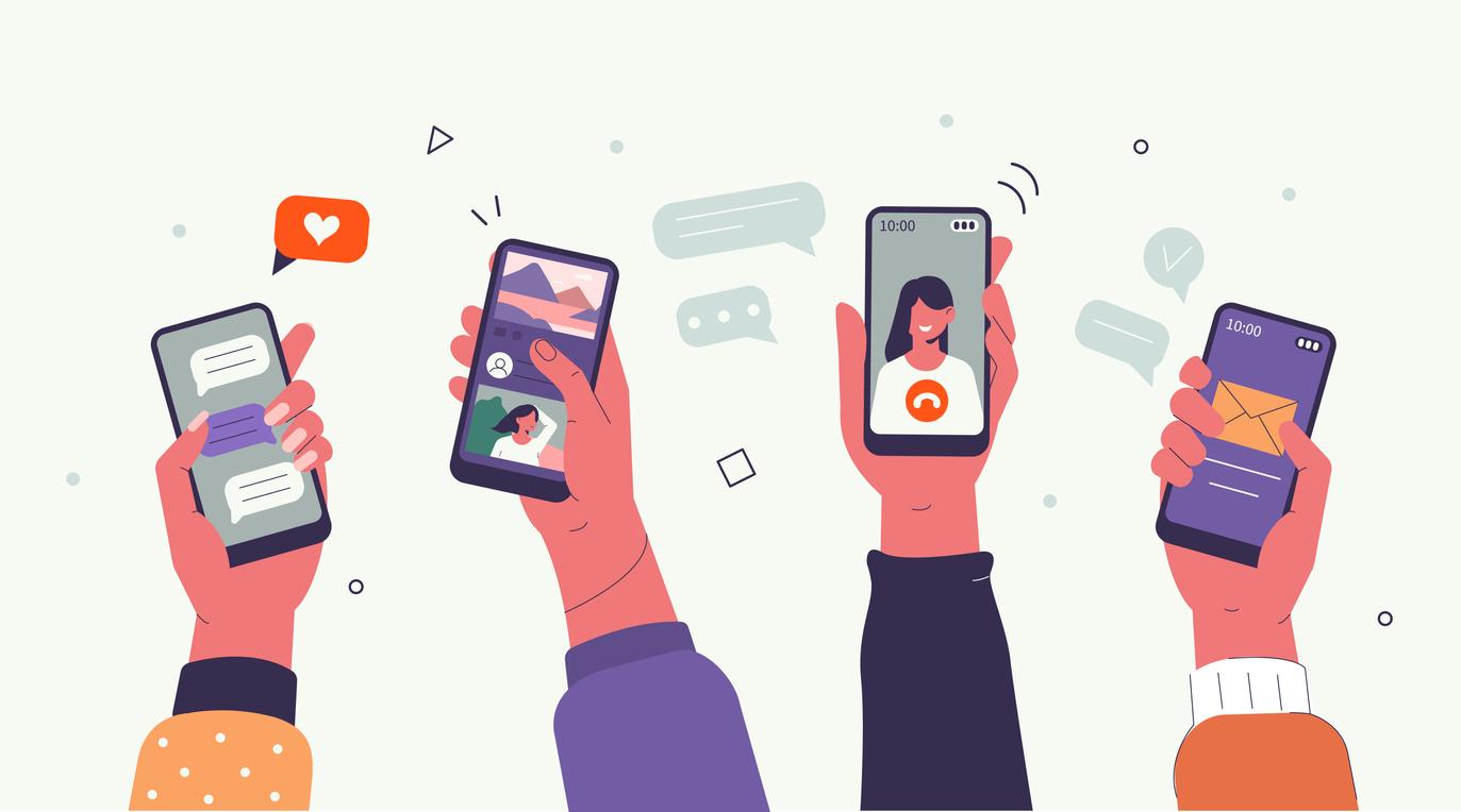 hands with smartphones