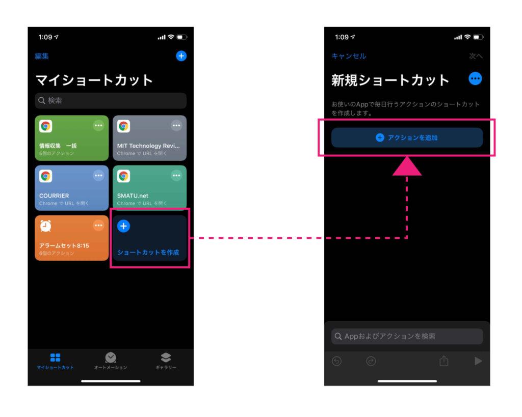 Photo : SMATU.netが作成(iPhoneのスクリーンショットを使用)  「ショートカットを作成」→「アクションを追加」の順番でタップ.